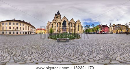 360 panorama of a Lutheran Cathedral Churchyard, in front of the statue of Georg Daniel Teutsch (1817-1893) on Piața Albert Huet in Sibiu, Romania