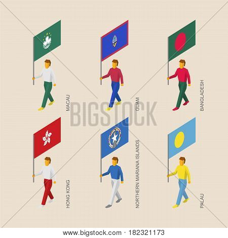 Set of 3d isometric people with flags of Asia and Oceania countries. Standard bearers infographic - Hong Kong, Bangladesh, Macau, Guam, Palau, Northern Mariana Islands