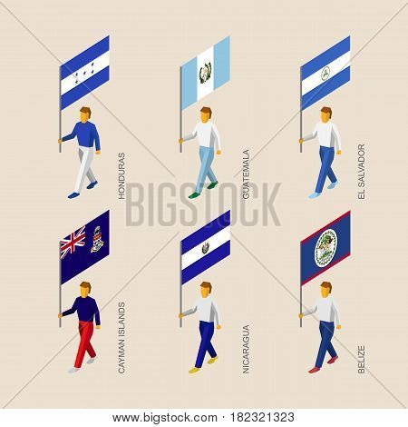 Set of 3d isometric people with flags of Caribbean countries. Standard bearers infographic - Honduras, Guatemala, El Salvador, Cayman Islands, Nicaragua, Belize.