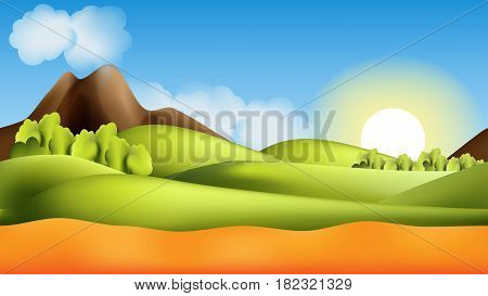Vector Parallax landscape cartoon seamless repeating background