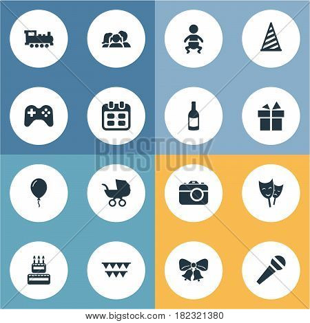 Vector Illustration Set Of Simple Birthday Icons. Elements Speech, Baby Carriage, Infant And Other Synonyms Domestic, Baby And Cap.