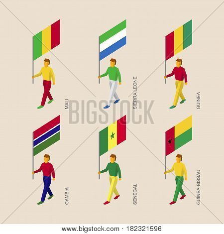Set of 3d isometric people with flags of African countries. Standard bearers infographic - Mali, Sierra Leone, Guinea, Gambia, Senegal, Guinea-Bissau.
