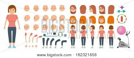 Woman character creation set. Young girl. Sportswoman and sports equipment for fitness. Icons with different types of faces and hair style, emotions, front, rear side. Vector flat illustration