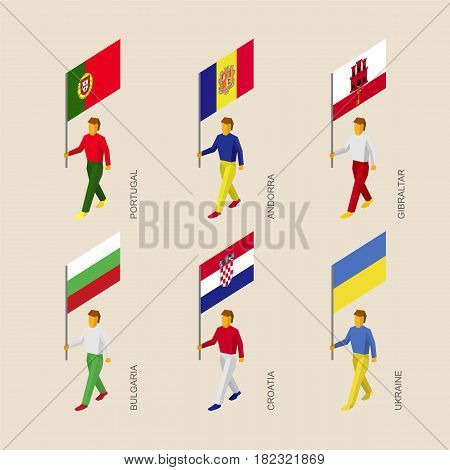 Set of isometric 3d people with flags of European countries. Standard bearers infographic - Portugal, Andorra, Ukraine, Gibraltar, Croatia, Bulgaria.