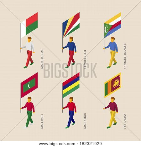 Set of isometric 3d people with flags of countries in Indian ocean. Standard bearers infographic - Madagascar, Seychelles, Comoro Islands, Maldives, Mauritius, Sri Lanka.