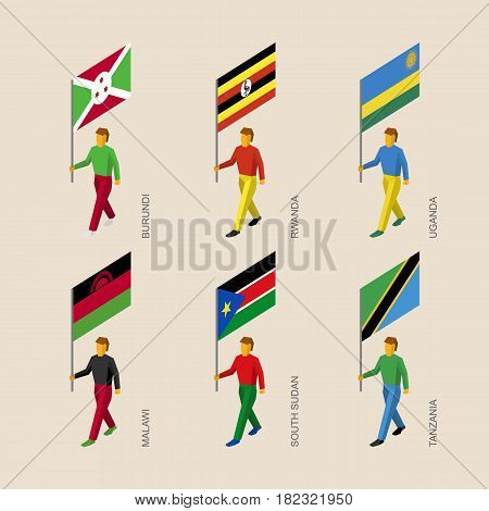 Set of isometric 3d people with flags of African countries. Standard bearers - Burundi, Rwanda, Uganda, Malawi, South Sudan, Tanzania.