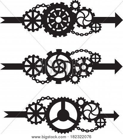 A set of three arrows with gears. Black illustration on a white background