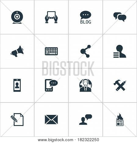 Vector Illustration Set Of Simple User Icons. Elements Broadcast, Man Considering, Loudspeaker And Other Synonyms Gossip, Share And Network.
