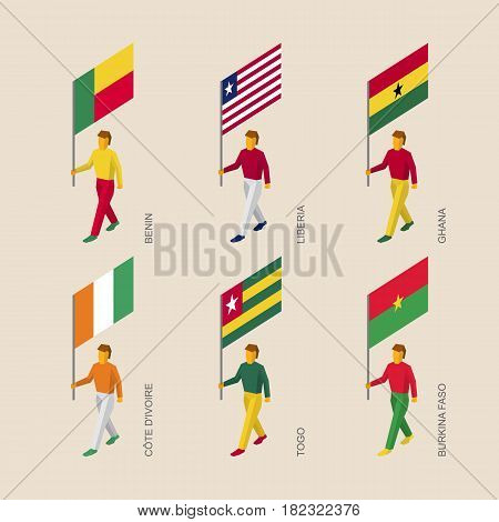 Set of 3d isometric people with flags of African countries. Standard bearers infographic - Benin, Liberia, Ghana, Cote d'Ivoire (Ivory Coast), Togo, Burkina Faso.