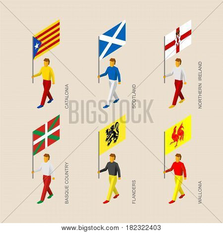 Set of isometric 3d people with flags of some European regions. Standard bearers infographic - Catalonia, Basque Country, Scotland, Northern Ireland, Flanders, Wallonia (Walloon)