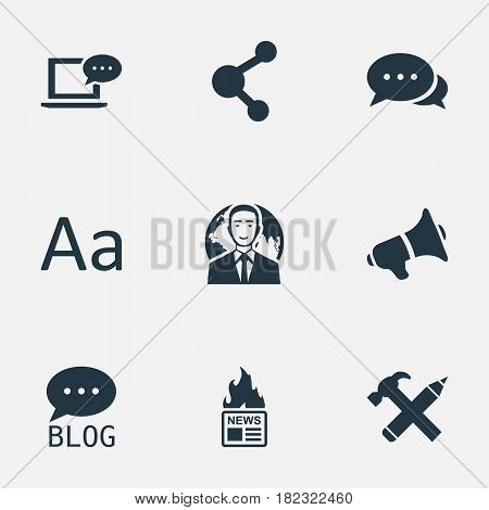 Vector Illustration Set Of Simple User Icons. Elements Argument, Laptop, International Businessman And Other Synonyms Blog, Megaphone And Network.
