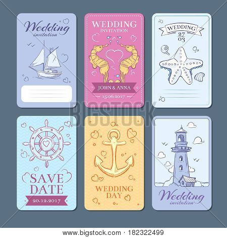 Marine, sea voyage vector wedding invitation cards set. Wedding invitation template in marine style, illustration of card invitation
