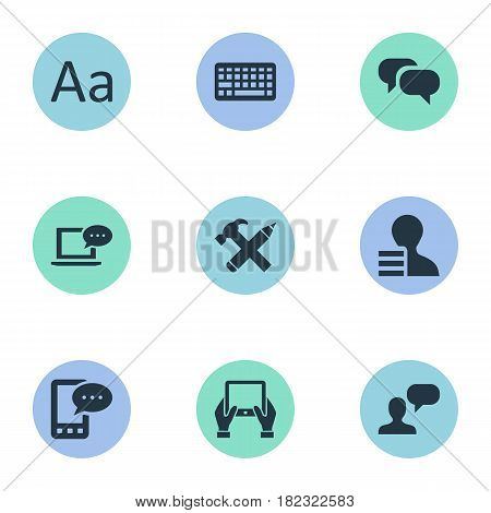 Vector Illustration Set Of Simple User Icons. Elements Laptop, E-Letter, Man Considering And Other Synonyms Keyboard, Message And Gain.