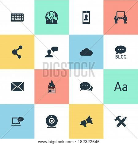 Vector Illustration Set Of Simple Blogging Icons. Elements Argument, Post, Laptop And Other Synonyms Post, Considering And Hot.