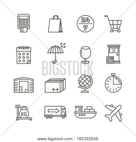 Delivery shipping logistics and cargo transport vector line icons. Cargo logistic and shipping, illustration of transportation container and logistic