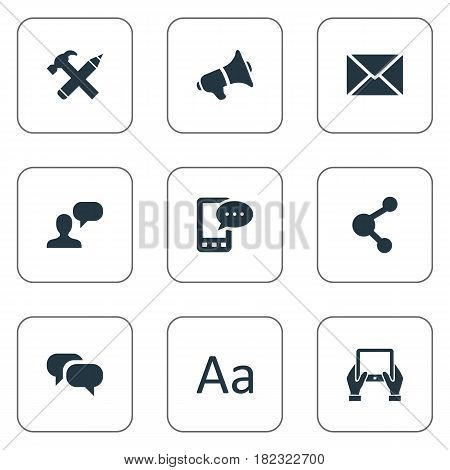 Vector Illustration Set Of Simple Blogging Icons. Elements Loudspeaker, Cedilla, Gossip And Other Synonyms Post, Relation And Gossip.