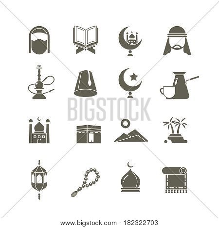 Muslim islamic middle east religion vector icons. Ramadan kareem pictograms. Traditional religious eastern, illustration of tradition religion arab
