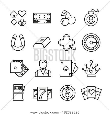 Gambling, casino, poker thin line vector simple icons. Gambling linear icon for casino, illustration of gamble game leisure