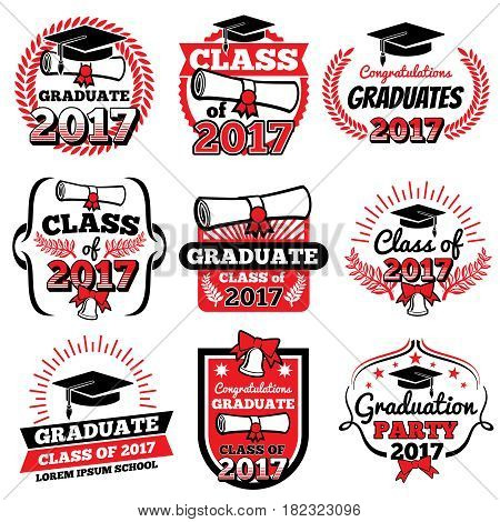 High school and college graduation, off to school vector logos and labels set. Graduation academy and illustration label to graduation college