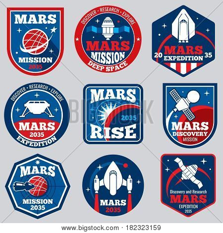 Mars mission vector space emblems. Astronaut travel badges. Set of labels travel to mars, illustration of adventure to planet mars