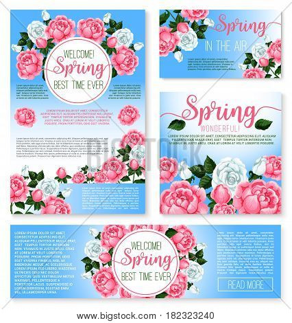 Welcome Spring seasonal greeting templates set. Blooming springtime flowers design of flourish wreath bouquets and roses petals and blossoms. spring is in the Air holiday quotes