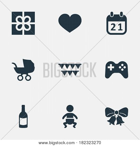 Vector Illustration Set Of Simple Birthday Icons. Elements Game, Soul, Resonate And Other Synonyms Stroller, Bells And Party.