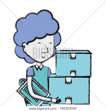 delivery man with packages box distribution, vector illustration