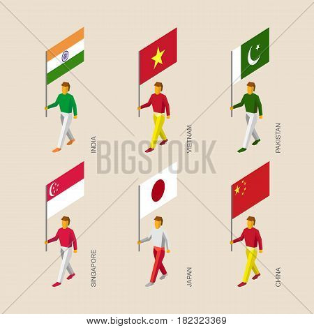 Set of isometric 3d people with flags. Standard bearers infographic - India, Vietnam, China, Singapore, Pakistan, Japan.