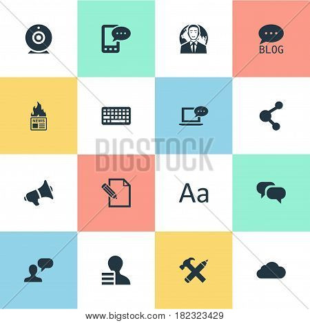 Vector Illustration Set Of Simple Blogging Icons. Elements Repair, Laptop, E-Letter And Other Synonyms Considering, Gossip And Broadcast.