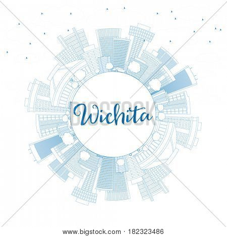 Outline Wichita Skyline with Blue Buildings and Copy Space. Business Travel and Tourism Concept with Modern Architecture. Image for Presentation Banner Placard and Web Site.