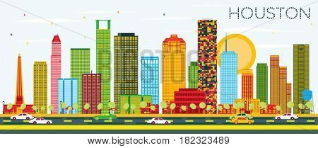 Houston Skyline with Color Buildings and Blue Sky. Business Travel and Tourism Concept with Modern Buildings. Image for Presentation Banner Placard and Web Site.