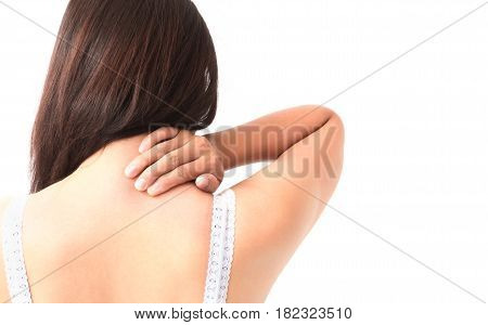 Woman Itching on shoulder or neck pain with white background for healthy concept