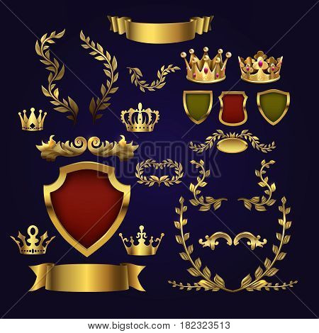 Golden vector heraldic elements. Kings crowns, laurel wreath and royal shield for 3d labels and badges. Frame heraldic crown, illustration of golden royal crown