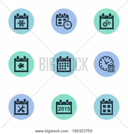 Vector Illustration Set Of Simple Calendar Icons. Elements Snowflake, Date, Annual And Other Synonyms Almanac, Time And Repair.