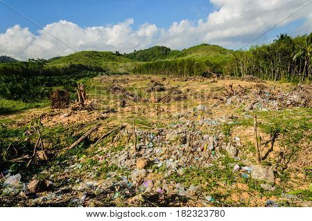 garbage pollution and encroach on forest by human effect contamination environmental in countryside thailand