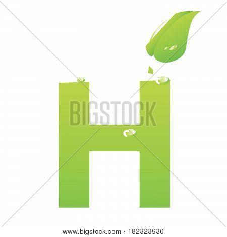 Green eco letter H vector illiustration on white