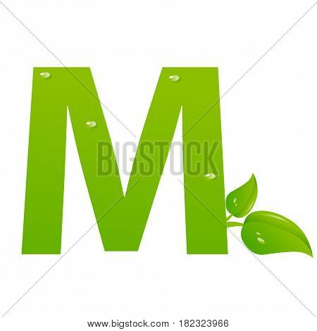 Green eco letter M illiustration on white