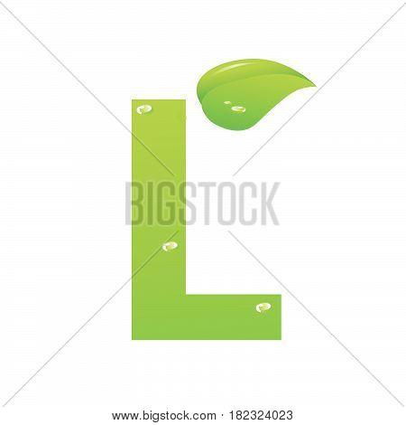 Green eco letter L vector illiustration on white