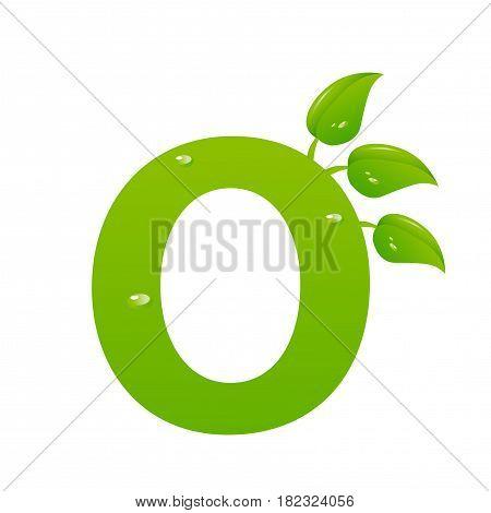 Green eco letter O illiustration on white