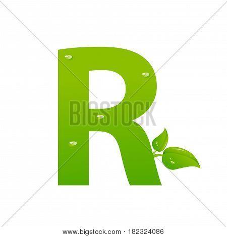 Green eco letter R illiustration on white