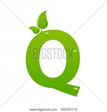 Green eco letter Q illiustration on white