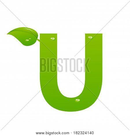 Green eco letter U illiustration on white background