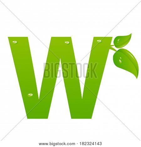 Green eco letter W illiustration on white