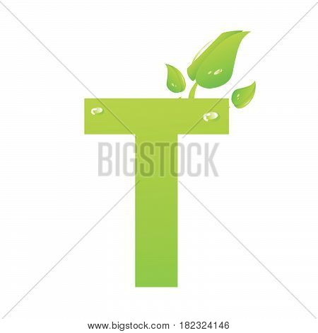 Green eco letter T vector illiustration on white