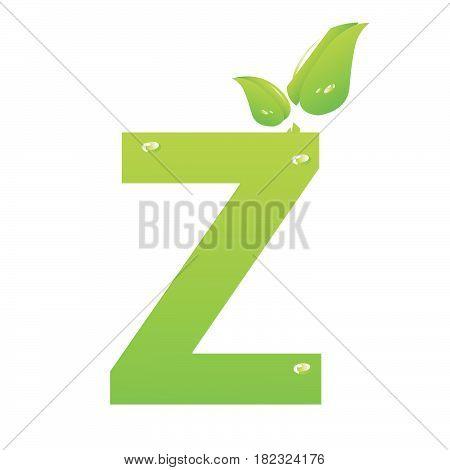 Green eco letter Z vector illiustration on white