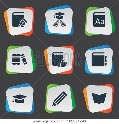 Vector Illustration Set Of Simple Reading Icons. Elements Recommended Reading, Sketchbook, Reading And Other Synonyms Pencil, Journal And Sketchbook.