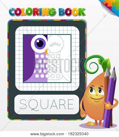 Coloring Book Geometric Form Square