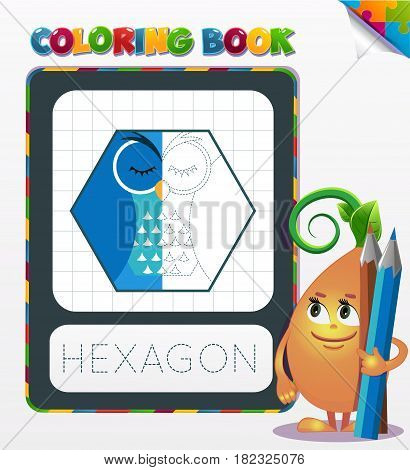 Coloring Book Hexagon Geometric Form