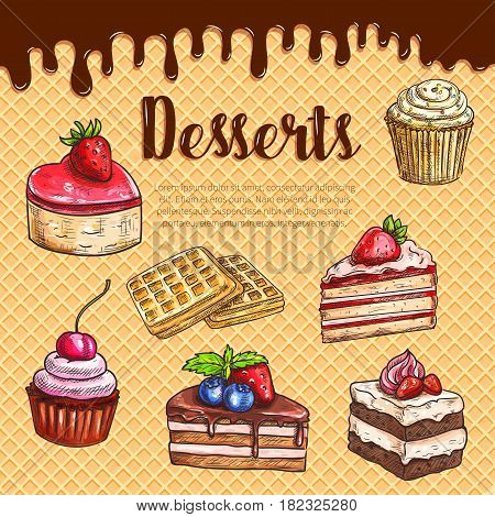 Desserts, bakery and pastry on waffle. Vector cakes and cupcakes, biscuits of cheesecake, tiramisu and brownie torte, wafer charlotte pies with cherry berry topping for patisserie menu design