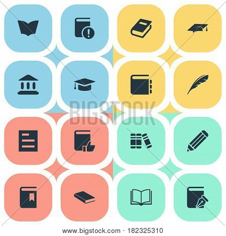 Vector Illustration Set Of Simple Education Icons. Elements Journal, Plume, Notebook And Other Synonyms Plume, Favored And Write.